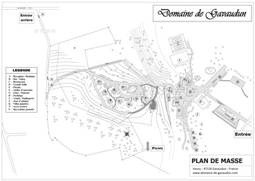 Layout of Domaine de Gavaudun cottages resort and holiday park in Dordogne Lot